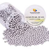 PandaHall Elite About 1000 Pcs 4mm Tiny Satin Luster Glass Pearl Bead Round Loose Spacer Beads for Jewelry Making Light Grey (Color: Light Grey-1000 Pcs, Tamaño: 4~4.5mm)
