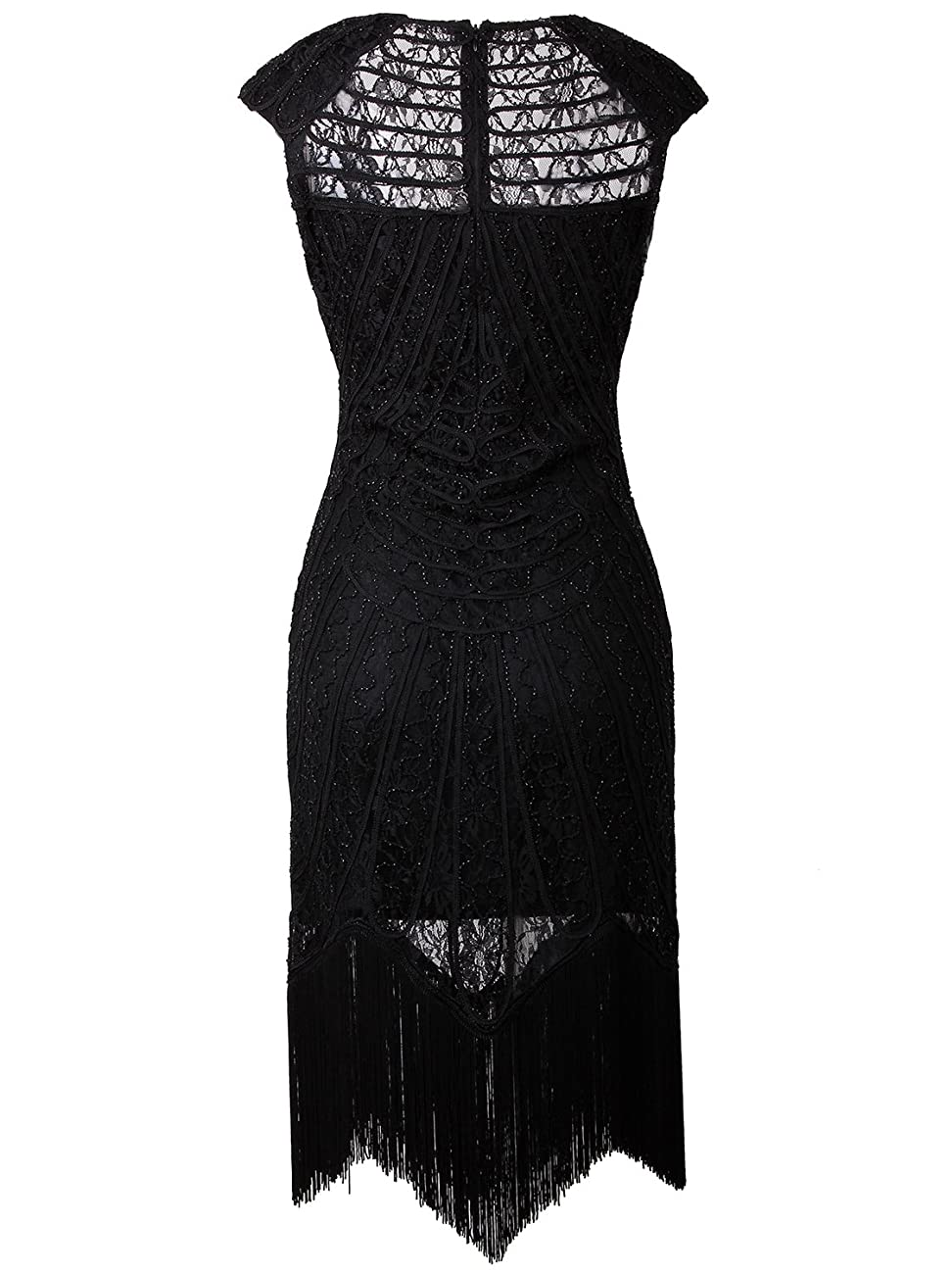 Vijiv Vintage 1920s Inspired Embellished Beaded Lace Cocktail Flapper Dress 2