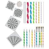 Apipi 23 Packs Mandala Dotting Tools Kit - Painting Dotting Stencil Dot for Rock Painting,Nail Art,Drawing & Drafting