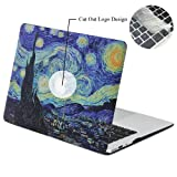 Rinbers 3D Print Ultra Slim Soft-touch Rubberized Hard Shell Case Snap-On Top&Bottom Hard Cover Case for MacBook Air 11 11.6 inch (Model: A1370 and A1465) - Van Gogh Galaxy Starry Night (Color: 2in1 Bundle Van Gogh Galaxy, Tamaño: MacBook Air 11 11.6 inch A1370 A1465)