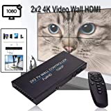 JKRED 2x2 4K Video Wall HDMI Processor IP Network PoE HD TV 1080P Matrix Wall Controller Splicing 1x2 1x3 1x4 2x1 3x1 4x1 Multiple Modes (Color: Black)