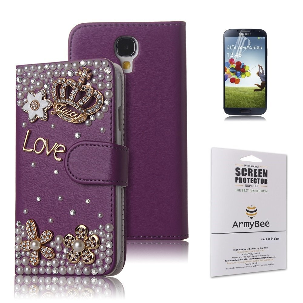Samsung Galaxy S4 i9500 Bling Purple Crystal Love Crown Premium PU Leather Flip Wallet Case Cover Design for Girls With Card Holder