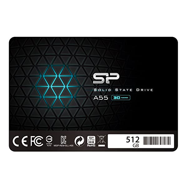 Silicon Power 512GB SSD 3D NAND With R/W Up To 560/530MB/s A55 SLC Cache Performance Boost SATA III 2.5 7mm (0.28) Internal Solid State Drive (SP512GBSS3A55S25)