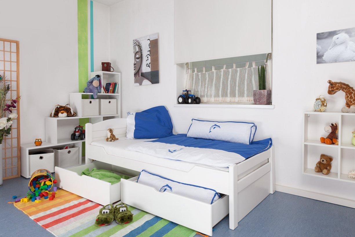 """Kinderbett / Jugendbett """"Easy Sleep"""" K1/ Voll inkl 2 Schubladen und 2 Abdeckblenden, 90 x 200 cm Buche Vollholz weiß lackiert online bestellen"""