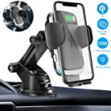 Wireless Car Charger Mount, Cshidworld Auto Clamping 10W/7.5W Qi Fast Charging Car Mount, Windshield Dashboard Air Vent Phone Holder Compatible with iPhone Xs Max XR 8 Plus, Samsung S10 S9 S8, LG V30 (Color: Silver)