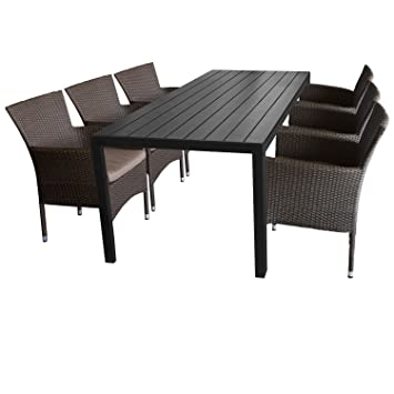 7tlg. Gartengarnitur Gartentisch, 205x90cm, Polywood-Tischplatte schwarz + 6x Sessel, Poly Rattan, stapelbar, braun-meliert, inkl. Kissen