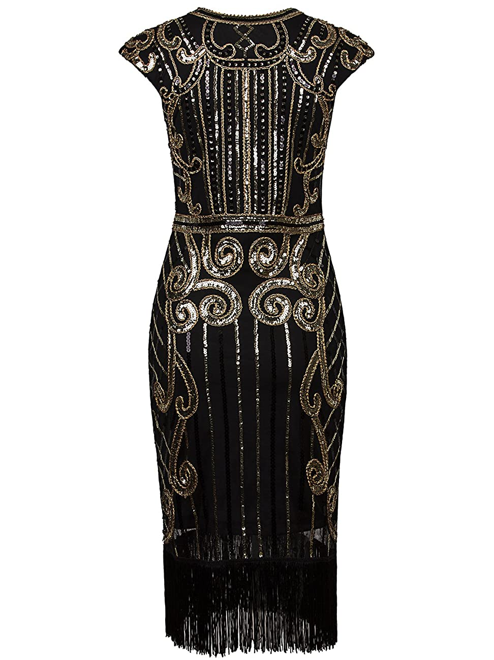 Vijiv 1920s Vintage Inspired Sequin Embellished Fringe Long Gatsby Flapper Dress 3
