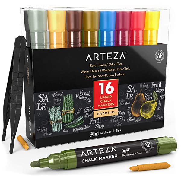 ARTEZA Liquid Chalk Marker Set of 16 (16 Pastel Colors, 16 Replaceable Chisel Tips, 1 pc Tweezers, 50 Labels, 2 Sticky Stencils) - Water Based - Erasable - for Chalkboard and Multi Surface Use (Color: Pastel Colors)