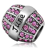 JMQJewelry Birthday Charms Bead For Bracelets (Pink, June Birthstone) (Color: Purple)