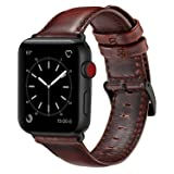 OUHENG Compatible with Apple Watch Band 42mm 44mm, Genuine Leather Band Replacement Compatible with Apple Watch Series 4 Series 3 Series 2 Series 1 (42mm 44mm) Sport and Edition, Brown (Color: Brown Band, Tamaño: 42 mm)