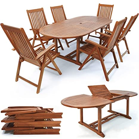 "Wooden Garden Dining Table and Chairs Set ""Vanamo"" Outdoor Patio Conservatory Oval Furniture 6 Seater"