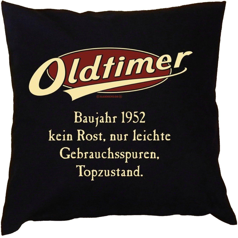 Kissen mit Innenkissen – zum Geburtstag – Oldtimer Baujahr 1952 – kein Rost, nur leichte Gebrauchsspuren, Topzustand. – mit 40 x 40 cm – in schwarz : ) jetzt bestellen