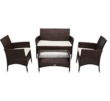 Set 4 piezas de muebles para jardín patio porche con mesa y asientos de ratán