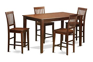 East West Furniture DUVN5H-MAH-W 5-Piece Counter Height Table Set, Mahogany Finish