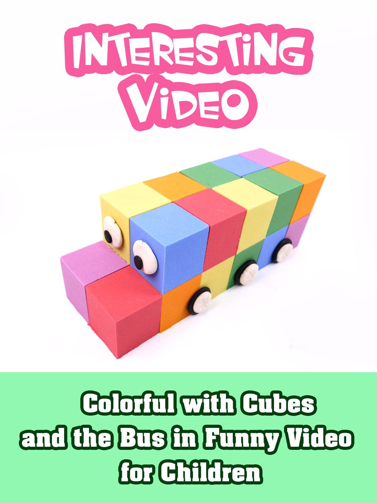 Colorful with Cubes and the Bus in Funny Video for Children