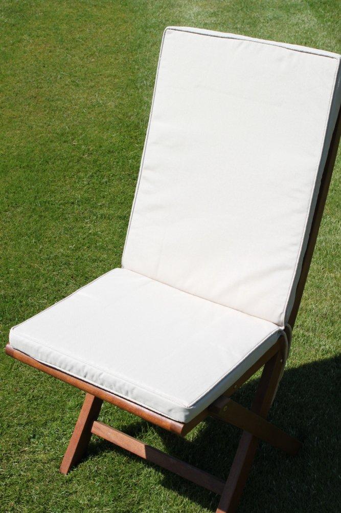 Gartenmöbel-Auflage – Sitz- und Rückenkissen für Klappstuhl in Hellbeige günstig online kaufen