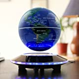 LYNICESHOP 6'' Magnetic Levitation Floating Globe Anti Gravity Rotating World Map with LED Light for Children Educational Gift Home Office Desk Decoration (Color: Blue, Tamaño: us)