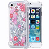 Flocute iPod Touch 5 6 7 Case, iPod Touch 5 6 7 Glitter Floral Case Flower Bling Sparkle Floating Liquid Soft TPU Cushion Luxury Fashion Girls Women Cute Case for iPod Touch 5th 6th 7th (Cherry) (Color: Cherry)
