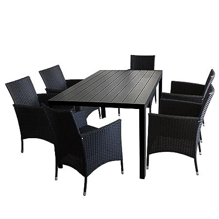 7tlg. Sitzgruppe Aluminiumtisch mit Polywood Tischplatte in Schwarz 150x90cm + 4x Gartensessel mit Polyrattanbespannung in Schwarz inkl. Sitzkissen / Gartengarnitur Terrassenmöbel Gartenmöbel Set Sitzgarnitur