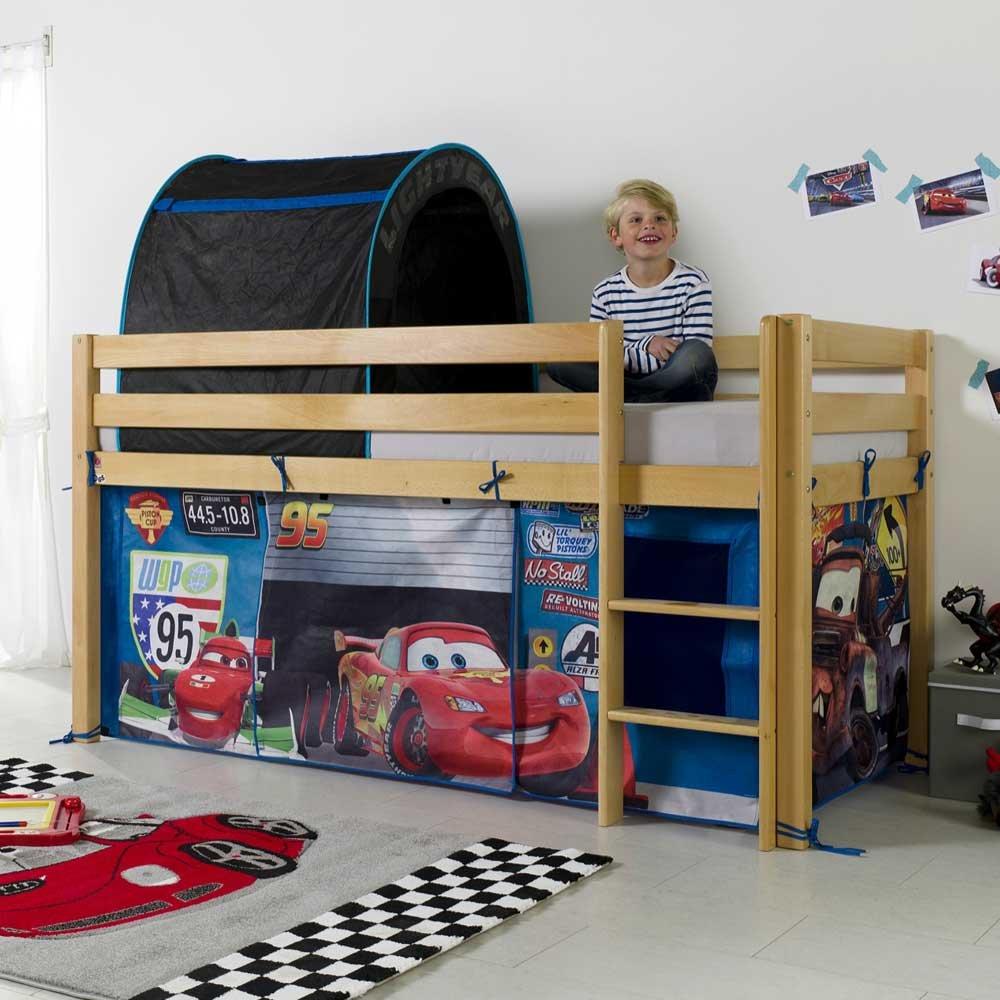 Kinderhochbett aus Buche Massivholz Cars Design Pharao24 günstig online kaufen