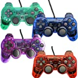 Wired Controller for PS2 Playstation 2 Dual Shock(Pack of 4,Red,Blue,Green,Purple) (Color: Red,Blue,Purple,Green)