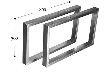 Kufengestell Tischgestell Edelstahl 201 Rahmentisch Tischkufe Tischuntergestell (300mm x800 mm - 1 Paar)