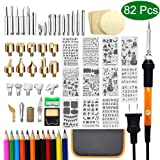 82 PCS Wood Burning Kit, Wood Tool Burning with Adjustable On-Off Switch Control Temperature 200~450 ? Professional Wood Burning Pen and Various Wooden Kits Carving/Embossing/Soldering Tips