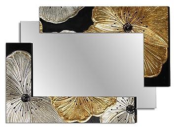 Pintdecor Petunia Scomposta Piccola Specchiera, Mdf, Oro/Argento, 120x80x3 cm