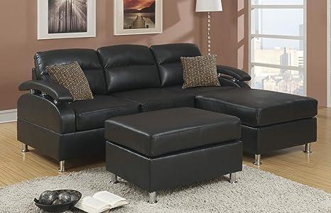 Poundex Bobkona 3-Piece Bonded Leather Sectional Sofa, Ebony