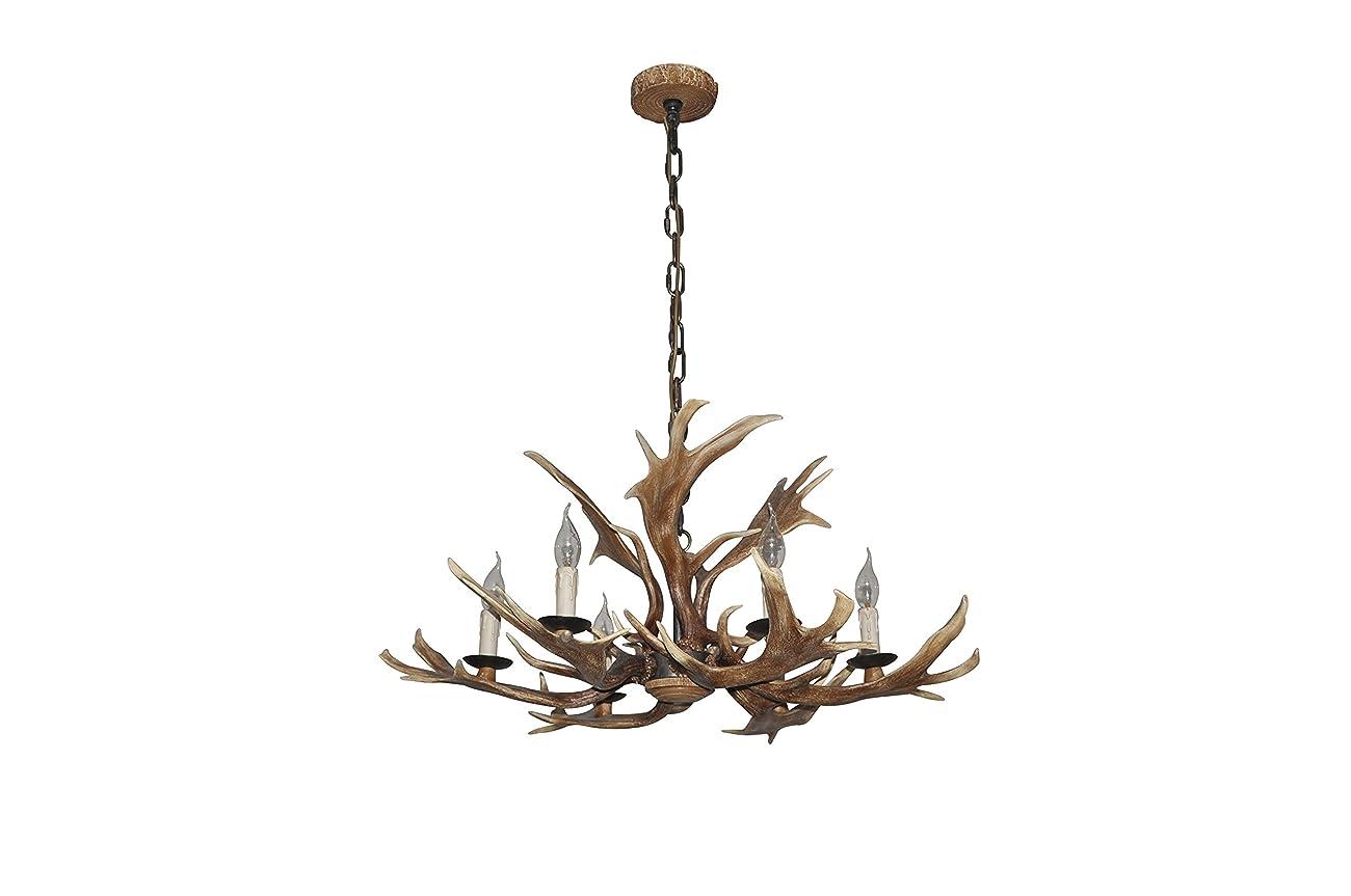 EFFORTINC Vintage Style Resin Deer Horn Antler Chandelier,6Lights(Bulbs Not Included) 2