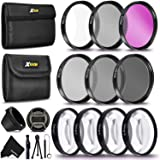 PRO 58MM Lens Filters Kit (UV FLD CPL) + 58mm Close Up Macro Filters (+1 +2 +4 +10) + 58mm ND Filter Kit (ND2 ND4 ND8) + 58mm Lens Hood + Xtech Camera Accessories Starter Kit + More (Tamaño: 58mm)