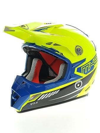 Casque Motocross Lazer MX8-Carbon Tech Jaune Fluo-Bleu