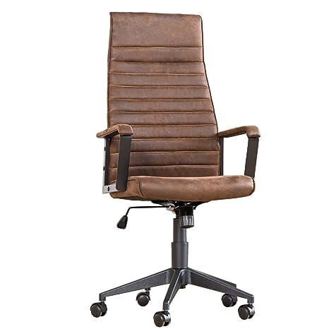 Moderner Design Burostuhl LAZIO Highback Microfaser vintage braun Chefsessel mit Armlehnen Drehstuhl Stuhl mit Rollen