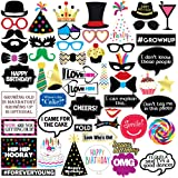 Sterling James Co. Funny Birthday Photo Booth Props - 47 Pieces - 21st - 30th - 40th - 50th - 60th - 70th - 80th - 90th – Birthday Party Supplies, Decorations and Favors