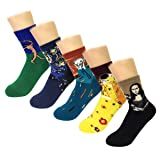 Wrapables Famous Painting Masterpiece Artwork Crew Socks (5 pairs) (Color: Collection 1, Tamaño: 9-11)