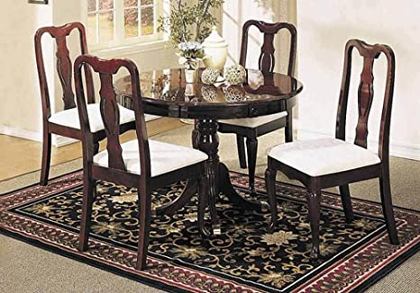 1PerfectChoice Queen Anne 5 pc Round Dining Pedestal Table Set Chair w/ Fabric Seat in Cherry