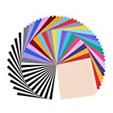 Permanent Adhesive Vinyl Sheets - Includes Assorted Colors (12'' X 12'' Matte & Glossy) Work with Silhouette,Cameo, Outdoor Decal (Color: 60 Glossy Vinyl)