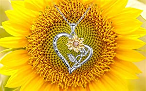 You Are My Sunshine In My Heart S925 Sterling Silver Sunflower with CZ Pendant Necklace for Women 18 (Heart Sunflower Nec) (Color: Heart Sunflower Nec)