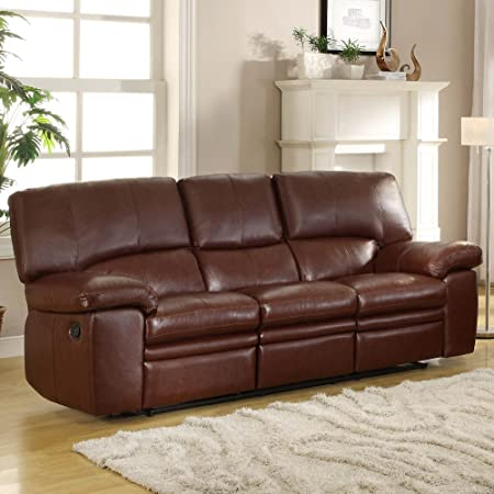 Kendrick Double Recliner Sofa in Brown Bonded Leather Match by Homelegance