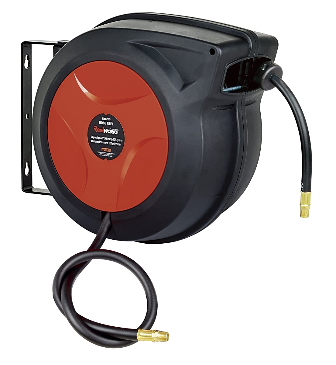 "ReelWorks 27807153A Plastic Retractable Air Compressor/Water Hose Reel with 3/8"" x 50 Hybrid Polymer Hose, Max. 300 psi"