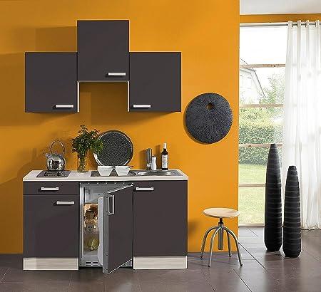 idealShopping Singelkuche mit Elektrogeräten Faro in anthrazit 150 cm breit