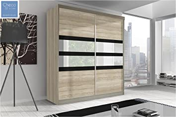 FAST&FREE DELIVERY BRAND NEW BEDROOM 2 SLIDING DOORS WARDROBE 6 ft (183cm) MULTI F09 SONOMA OAK WITH MIRRORS