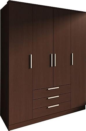 Trasman 1021wengue Kleiderschrank 4 Turen mit 4 verstellbaren Innenregalen, 3 Schubladen und 2 Kleiderstangen, melaminharzbeschichtete Holzspanplatten, wenge, 160 x 52 x 202 cm