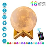 Moon Lamp with Time Setting and Stand 3D Print LED 16 Colors Hung Up Decorative Luna Lights for Birthday Party Kids Christmas Gifts(5.9 inch) (Color: White, Tamaño: 5.9 inch)