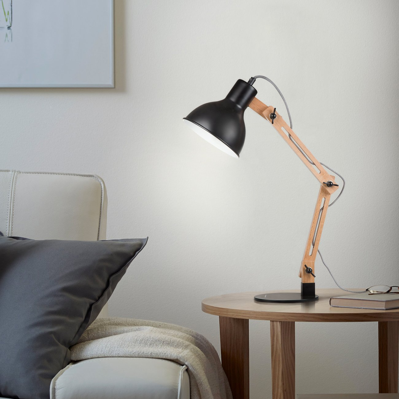 Tomons Scandinavian Swing Arm Wood Desk Lamp, Black 3