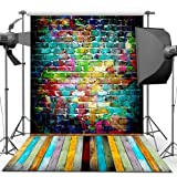 econious Photography Backdrop, 5x7 ft Colorful Brick Wall Wood Floor Backdrop for Studio Props Photo Backdrop (Color: Colorful Brick Wall Wood Floor)