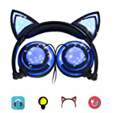 Headphones Cat Ear Inspired Headband - Universal USB Rechargeable Foldable LED Lights Gaming Headsets Adults and Kids Girls Flashing Headphones for Phone Laptop Mp3 3.5mm Jack Device (T107 Bule-EP2) (Color: T107 Bule-EP2)