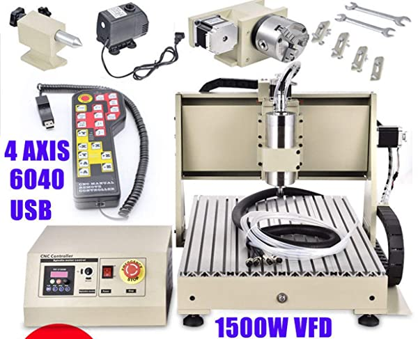 4 Axis USB 1.5KW VFD 6040 CNC Router Engraver Engraving Drilling Milling Carving Machine 3D Cutter Desktop DIY Artwork Woodworking (with Remote Controller) (Color: with Remote Controller)
