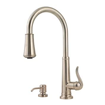Pfister Ashfield 1-Handle Pull-Down Kitchen Faucet with Soap Dispenser, Brushed Nickel