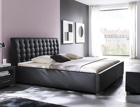 Polsterbett Bett Ishan Comfort schwarz Kunstleder Doppelbett Ehebett Bett Bettgestell Kunstleder, Größe:200 x 200